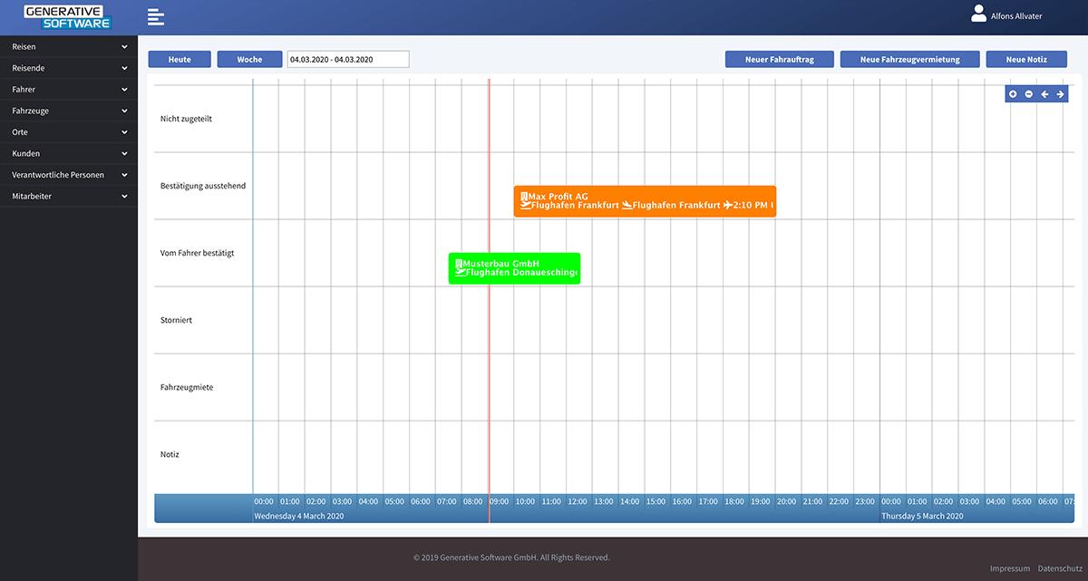 Digitale Plantafel der Fahrservice Software - Übersicht Auftragsstatus Fahrauftrag