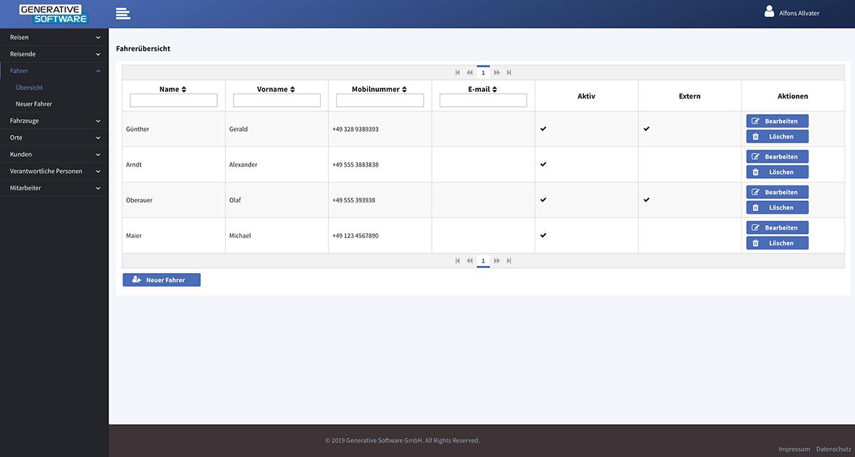 Stammdatenverwaltung - Fahrerübersicht