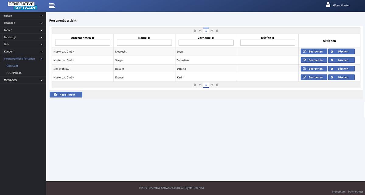 Stammdatenverwaltung - Besteller des Kunden