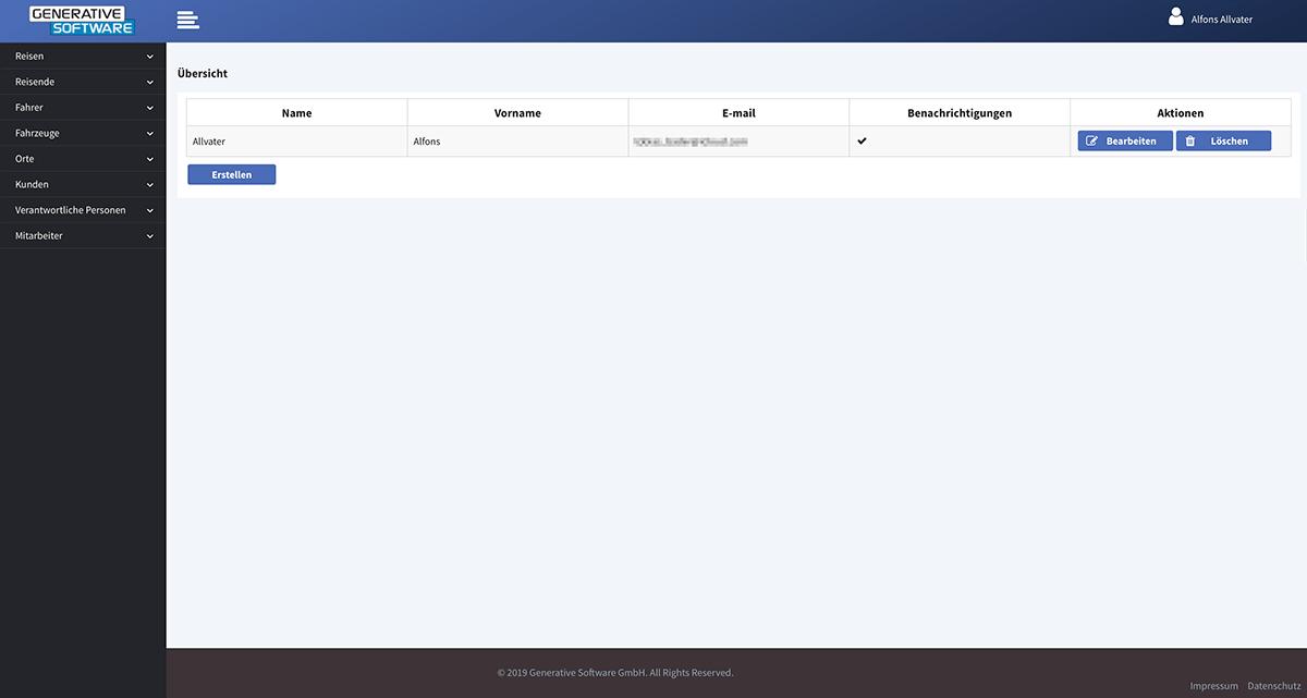 Stammdatenverwaltung - Bereich eigene Mitarbeiter / Nutzer